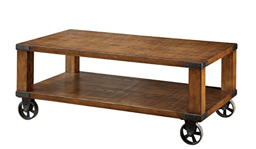 Furniture Of America Mattias Industrial Coffee Table On Casters