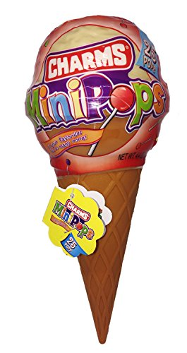 BIG ICE CREAM CONE Filled With 25 Charms Mini Pops Hard Candy Lollipops (Assorted Flavors) (Single) (Strawberry Gum Banana)
