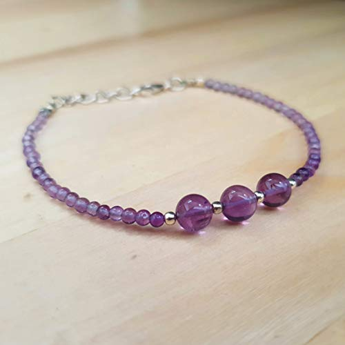 Dainty Amethyst Round Beads Bracelet with Sterling Silver Findings 6.50