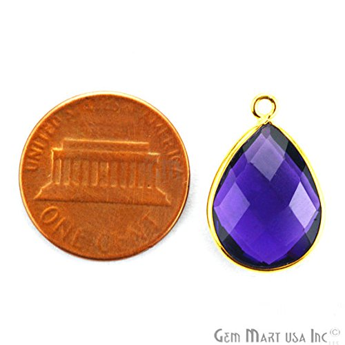 Amethyst 8x12MM Pears Shape Gold Plated Bezel Connector Single BAIL