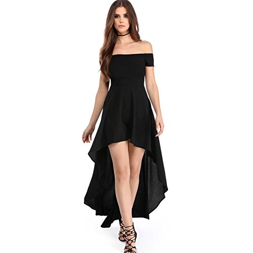 Common Womens Ladies High Low Hem Off The Shoulder Bodycon Midi Dress ( Black-M )
