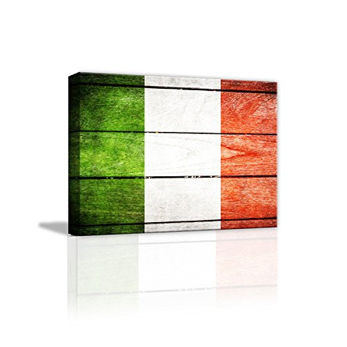 AmazingWall Italian Flag Vintage Old Style Wooden Decor Oil Canvas Paiting Wall Art 30x40cm/11.8x15.7""