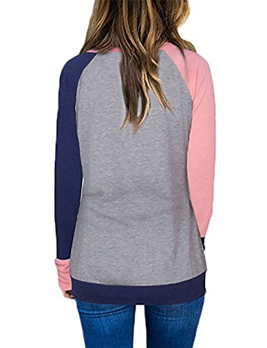 EMVANV Lady Daily Wear Blouse With Pockets,Baseball Clothes,Pink - Navy Blue M