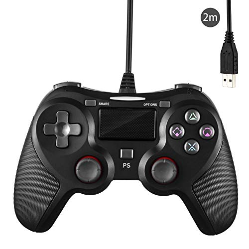 PS4 Wired Controller for Playstation 4, JAMSWALL Dual Vibration USB Wired PS4 Gamepad Joystick for Playstation 4/PS4 Slim/PS4 Pro PC Cable Length 6.5ft