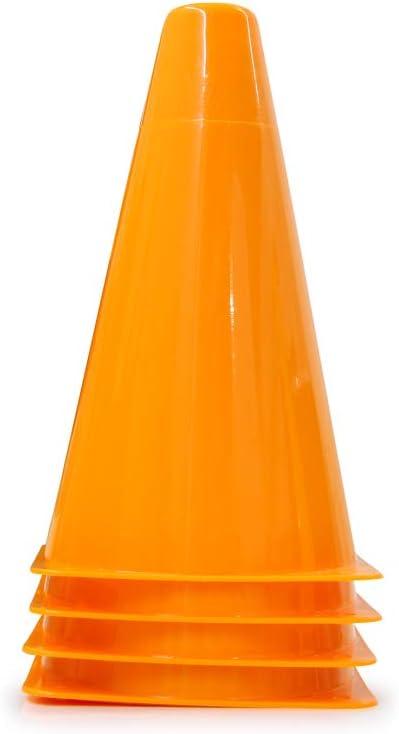 aus robustem Kunststoff 4 Fixierl/öcher vielseitig einsetzbar leicht zu transportieren platzsparende Lagerung Jamara 460521 Pylonen Traffic orange VE4-stapelbar