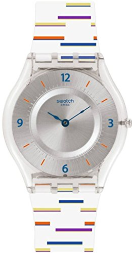 Swatch Skin Thin Liner Silver Dial Silicone Strap Ladies Watch SFE108