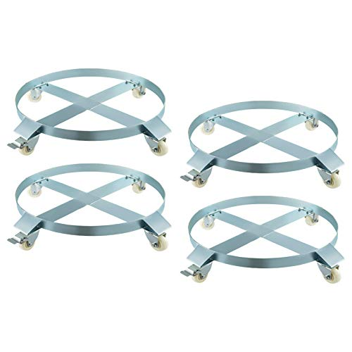 BestEquip 4 Pack Heavy Duty Drum Dolly 4 Swivel Caster Wheel 55 Gallon Steel Frame Non Tipping