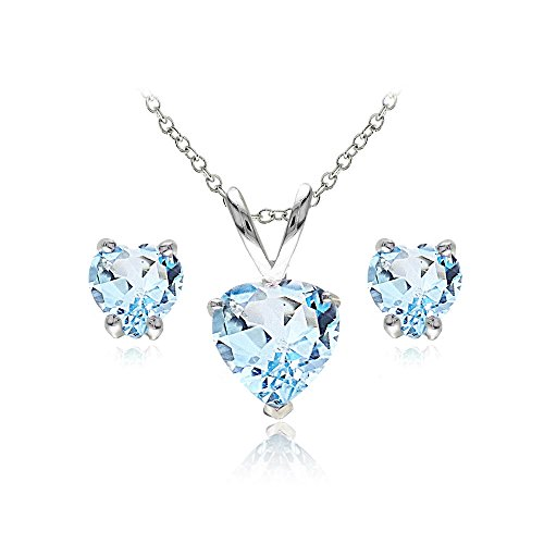 Sterling Silver Blue Topaz Heart Solitaire Necklace and Stud Earrings - Blue Bracelet Topaz Pendant