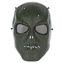SODIAL(R) Army Skull Skeleton Airsoft Paintball BB Gun Full Face Game Protect Safe Mask (Green)