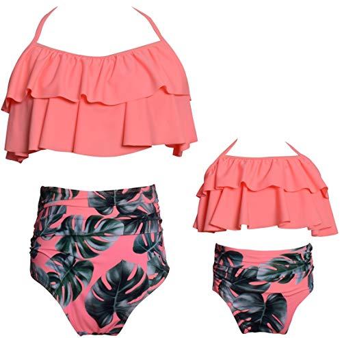 Girls Swimsuit Matching Family Two Pieces Bikini Set Kids Ruffle Swimwear Bathing Suits Size 7-8 Years ()
