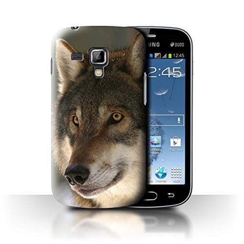 Phone Case for Samsung Galaxy S Duos 2/S7582 Wild Animal Predator Wolf Hunting Prey Design Transparent Clear Ultra Slim Thin Hard Back Cover