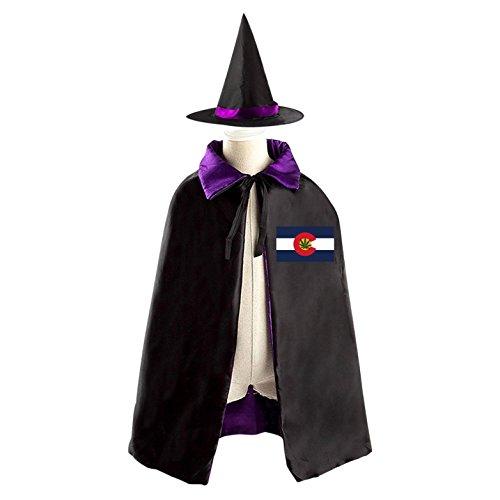 Weed Girl Costume (Halloween Costume Children Cloak Cape Wizard Hat Cosplay Marijuana Weed Flag Of Colorado For Kids Boys Girls)