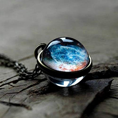FRCOLT Cosmic Planet Time Gemstone Necklace Solar System Double Neck Glass Star Necklace (A, alloy) by FRC0LT Fashion Women Earings (Image #4)