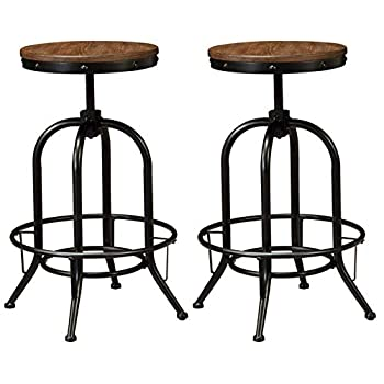 Image of Ashley Furniture Signature Design - Pinnadel Bar Stool - Pub Height - Set of 2 - Rustic Brown Home and Kitchen