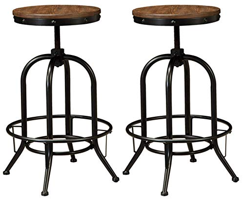 (Ashley Furniture Signature Design - Pinnadel Bar Stool - Pub Height - Set of 2 - Rustic Brown )