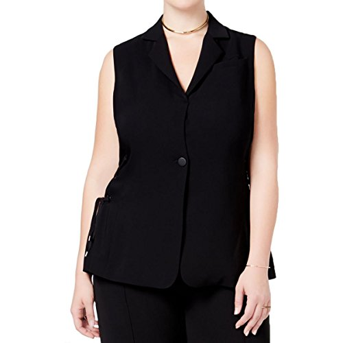 Rachel Rachel Roy Womens Plus Lace-Up One-Button Casual Vest Black 1X