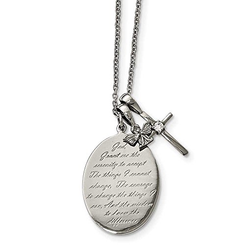 JewelryWeb 18-inch Stainless Steel Polished Serenity Prayer CZ Cross Necklace -Toggle closure