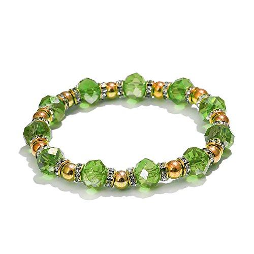 Faux Pearl Rhinestone Ring - yingyue Fashion Colorful Imitation Faux Rhinestone Bracelet Women Decorative Wristband Jewelry Gift - Green