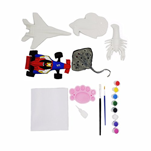 Mache Figure - Paper Mache Decorate-Your-Own Painting Kit. 5 Paper Mache figures. Paint a Jet Fighter, Formula One race car, Stingray, FIsh, and Lobster. Includes Paint, Paintbrushes, Stand, Pallete and Guidebook!