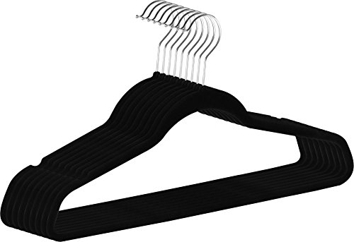 Zoyer Premium Quality Velvet Hangers - Space Saving and Heavy Duty Non-Slip Clothes Hangers - 360 Degree Rotatable Chrome Swivel Hook - Strong and Durable Suit Hangers (Black, 30 Pack)