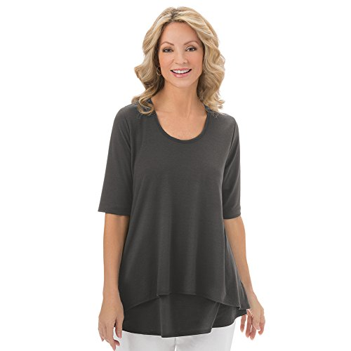 Womens Double Tier Short Sleeve, Elbow Length, Cotton Knit Top - Made in The USA