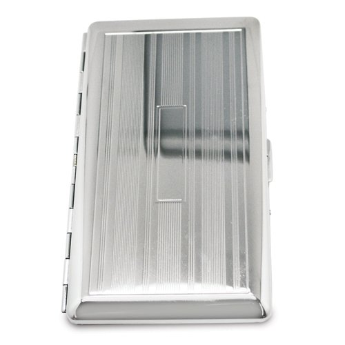 Silver-tone Cigarette/Card Case with Mirror - Engravable Personalized Gift Item