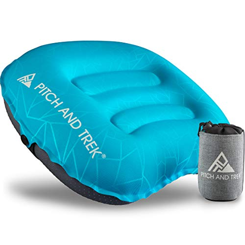 Pitch and Trek Camping Pillow – Inflatable Travel Pillow, Portable, Compact, Compressible – Neck & Lumbar Support for…