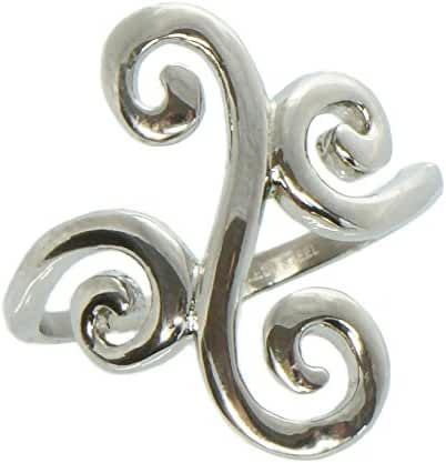 Thumb Ring Ornate Scroll Stainless Steel