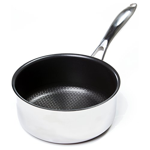 Frieling USA Black Cube Hybrid Stainless/Nonstick Cookware Saucepan with Lid, 6 1/2-Inch diameter, 1.5 Quart