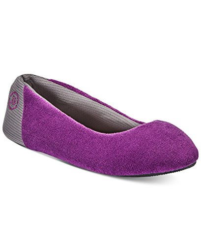 ISOTONER Women's Terry Smart Dri Ballet Slippers with Memory Foam (X-Large 9.5-10.5, Concord Purple)