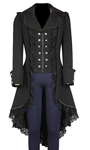 ONTBYB Womens Autumn Gothic Steampunk Tuxedo Suit Jacket Coat Black (Womens Tuxedo Jacket)