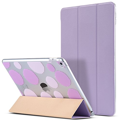 ULAK iPad Air 2 Case, Polka Dot Folio Slim Fit Smart Cover Case Colorful Clear Back Cover with Trifold Stand and Magnetic Auto Wake/Sleep Function for iPad Air 2 (Lavender)