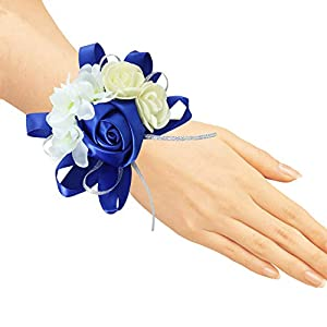 Pack of 4 Wedding Girl Bridesmaid Wrist Corsage Hand Flower Party Prom Accessories RoyalBlue 66