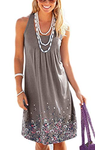 Akihoo Women's Summer Casual T Shirt Dresses Beach Cover Up Plain Pleated Tank Dress t Length Dresses for Women YH4-Brown Grey S