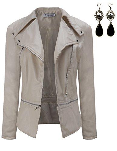 Women Ladies Leather Jacket Coat (Sitengle Women Leather Jacket Slim Punk Bomber Casual Zipper Short Coat L Creamy White)