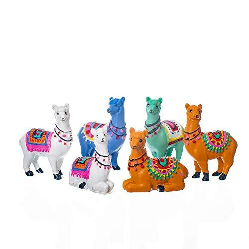 Gift Craft Garden Alpacas Multicolored 2 x 2 Inch Resin Figurines Assorted Set of 6