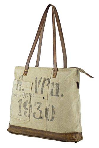 donna Borse a mano Borsa annata a tracolla in tela stile militare 47x37x10 cm 1802