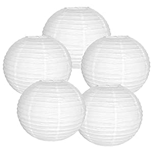 "Just Artifacts 20"" White Paper Lanterns (Set of 5) - Click for more Chinese/Japanese Paper Lantern Colors & Sizes!"