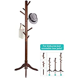 Vlush Standing Coat Rack,Wooden Coat Hat Tree Coat Hanger Holder Coat Hook Entryway Hall Tree with Solid Rubber Wood Base for Coat,Hat,Clothes,Scarves,Handbags,Umbrella-(8 Hooks,Brown)