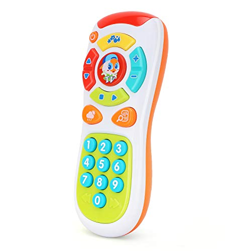 Zooawa Baby Remote Control, Early Development Educational Learning Lights Remote Toy, Click & Count Electronic Phone Toy with Music for Kids Toddler Infants - - Telephone Control