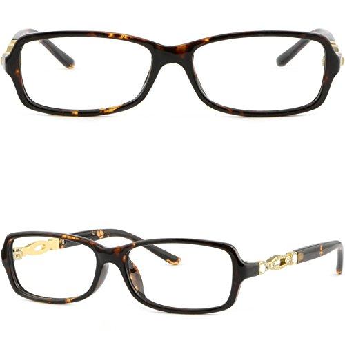 (Rectangular Light Women Plastic Frame Rhinestone RX Glasses Tortoiseshell)