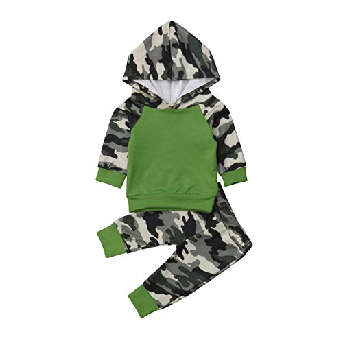 Infant Baby Girl Boy Woodland Camo Hoodie Tops Pants Outfits Cotton Clothes Set (Green, 12-18 Months) ()