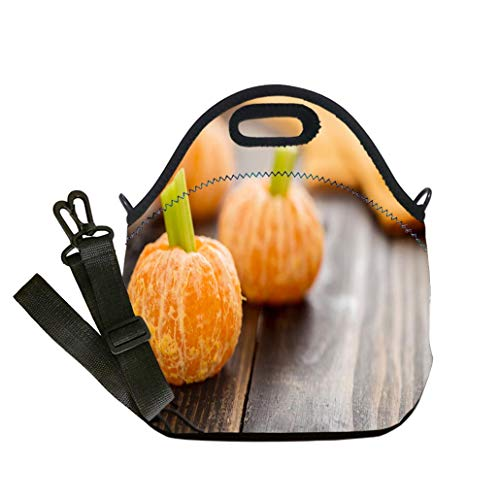 Custom Digital Printing Insulated Lunch Bag,Neoprene Lunch Tote Bags Healthy Halloween Food Tangerine Pumpkins Snack Kids Student Company School, Multicolor, Adults and Children ()