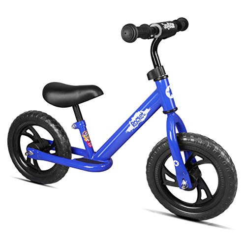 "JOYSTAR 12"" Balance Bike for Boys & Girls 1 2 3 4 5 Years Old, Push Bike for Toddlers with Footboard and Handlebar Protect Pad, Kids Glider Bike, Blue"