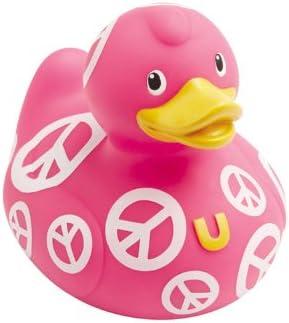 Motif Peace and Love trendfinding Canard en Plastique /« Pick Flowers Not Fights /» pour Le Bain Rose//Blanc