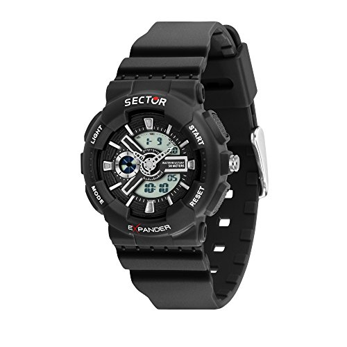 SECTOR Men's Ex-15 Analog-Quartz Sport Watch with Plastic Strap, Black, 18 (Model: R3251515002