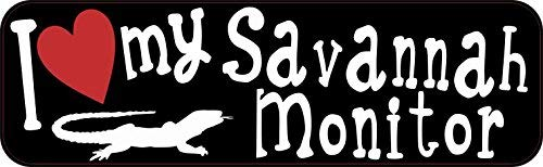 Savannah Monitors Pets - Yetta Quiller 3in x 18in I Love My Savannah Monitor Tin Sign Aluminum Sign Pet Lizard Bumper