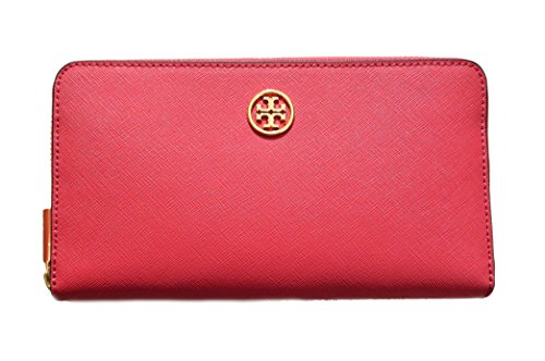 Tory Burch Robinson Zip Continental Wallet Dark Peony