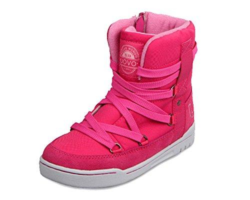 iDuoDuo Kids Casual Short Shaft Boots Side Zipper Waterproof Snow Boots Pink 1.5 M US Little Kid (Short Shaft)