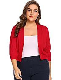 6854fe2c18033 Womens Plus Size Solid Sweathers Classic 3 4 Sleeve Knit Open Front Cropped  Cardigans
